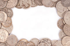 Coin frame. Beautiful frame with silver coin stock images