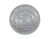 Coin of Germany 50 PFENINGS 1920. Beautiful coin on isolated white background royalty free stock images