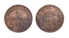 Coin of Germany Prussia 1 Pfennig 1862. Coin of Germany Prussia 1 Pfennig, numismatics of coins of the world stock photos