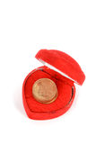 Coin in gift box Royalty Free Stock Photo