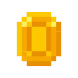 Coin gold pixelated icon Stock Photo