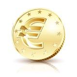 Coin Golden Euro Stock Photo