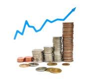 Coin and graph Stock Photos