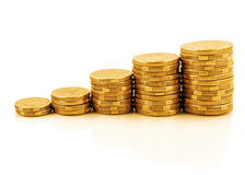Coin Graph. Rising currency - stacks of gold coins reflected on white, forming an upwards graph Stock Photos