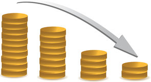 Coin graph falling. Over a white background Royalty Free Stock Photo