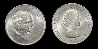 Coin of Great Britain with image of Churchill Stock Image