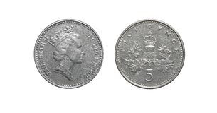 Coin of Great Britain 5 pence Stock Photos