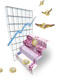 A coin of great value. Flying coins and a 500 € note Royalty Free Stock Images
