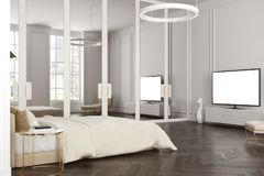 Coin gris de chambre à coucher, un poste TV Image stock