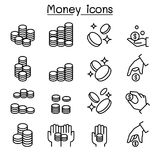 Coin & hand icon set in thin line style Stock Photos
