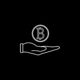 Coin in hand line icon, finance and business. Bitcoin euro sign vector graphics, a linear pattern on a black background, eps 10 Stock Image