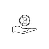 Coin in hand line icon, finance and business. Bitcoin euro sign vector graphics, a linear pattern on a white background, eps 10 Stock Image