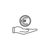 Coin in hand line icon, finance and business. Coin euro sign vector graphics, a linear pattern on a white background, eps 10 Stock Photos