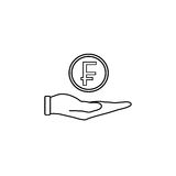 Coin in hand line icon, finance and business. Swiss franc coin sign vector graphics, a linear pattern on a white background, eps 10 Stock Photos