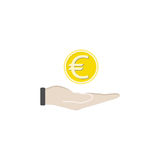 Coin in hand solid icon, finance and business. Coin euro sign vector graphics, a filled pattern on a white background, eps 10 Royalty Free Stock Photo