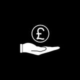 Coin in hand solid icon, finance and business. Pound coin sign vector graphics, a filled pattern on a black background, eps 10 Royalty Free Stock Images