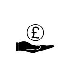 Coin in hand solid icon, finance and business. Pound coin sign vector graphics, a filled pattern on a white background, eps 10 Royalty Free Stock Photo