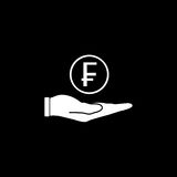 Coin in hand solid icon, finance and business. Swiss franc coin sign vector graphics, a filled pattern on a black background, eps 10 Royalty Free Stock Images