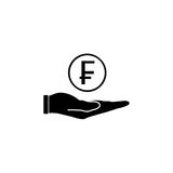 Coin in hand solid icon, finance and business. Swiss franc coin sign vector graphics, a filled pattern on a white background, eps 10 Stock Photos