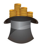 Coin in hat Royalty Free Stock Photo