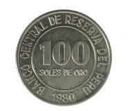 Coin. Hundred Soles de oro. Peru. Avers Stock Photos