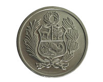 Coin. Hundred Soles de oro. Peru. Revers Royalty Free Stock Images