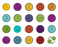 Coin icon set, color outline style. Coin icon set. Color outline set of coin vector icons for web design isolated on white background Stock Image