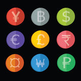 Coin icon set. Coin in various currency icon set Stock Photos