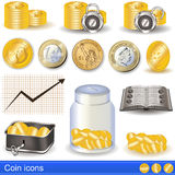 Coin icons Stock Images