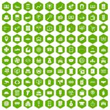 100 coin icons hexagon green. 100 coin icons set in green hexagon isolated vector illustration Stock Images