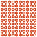 100 coin icons hexagon orange Royalty Free Stock Image