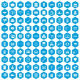 100 coin icons set blue. 100 coin icons set in blue hexagon isolated vector illustration Stock Photo