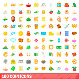 100 coin icons set, cartoon style. 100 coin icons set in cartoon style for any design vector illustration Royalty Free Stock Image