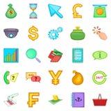 Coin icons set, cartoon style Royalty Free Stock Photo