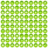 100 coin icons set green circle. Isolated on white background vector illustration royalty free illustration
