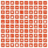 100 coin icons set grunge orange. 100 coin icons set in grunge style orange color isolated on white background vector illustration vector illustration