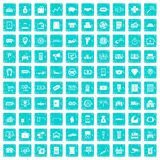 100 coin icons set grunge blue. 100 coin icons set in grunge style blue color isolated on white background vector illustration stock illustration
