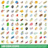 100 coin icons set, isometric 3d style. 100 coin icons set in isometric 3d style for any design illustration vector illustration