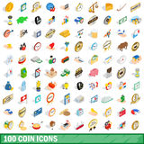 100 coin icons set, isometric 3d style. 100 coin icons set in isometric 3d style for any design vector illustration Stock Photography