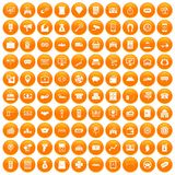 100 coin icons set orange. 100 coin icons set in orange circle isolated on white vector illustration Stock Photos
