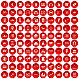 100 coin icons set red. 100 coin icons set in red circle isolated on white vector illustration Stock Photos