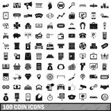 100 coin icons set, simple style Stock Images