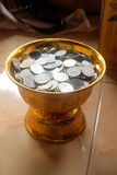Coin In Tray With Pedestal Royalty Free Stock Image