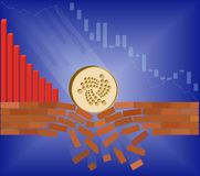 Coin of iota falls down with drop chart. On a blue background. Crypto currency breaks through the brick wall of support.Vector image design concept Stock Images