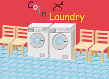 Coin laundry. This image represents a drawing with a coin laundry room! The .ai file is fully editable royalty free illustration