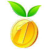 Coin with leafs Royalty Free Stock Image