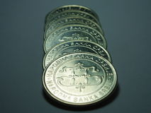Coin line stock image