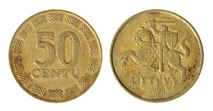 Coin Lithuania lit. On the white background (1998 year royalty free stock photography