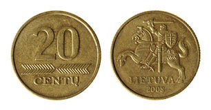 Coin Lithuania lit. On the white background (2008 year royalty free stock photos