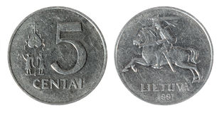 Coin Lithuania lit. Cent on the white background (1991 year royalty free stock images